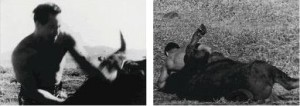 Mas Oyama en 1954, combate contra un toro